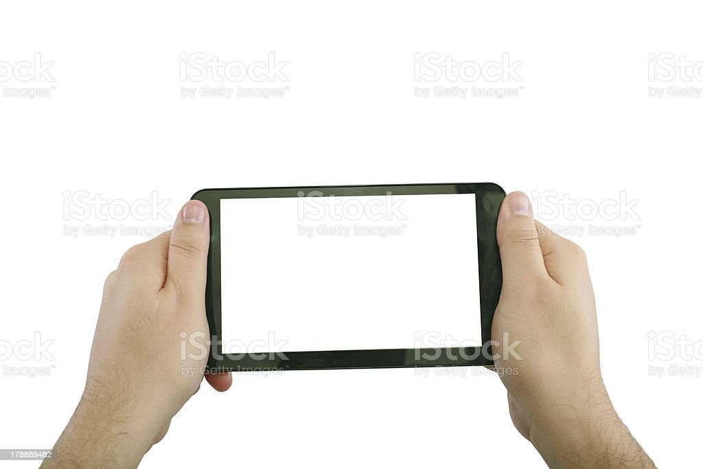 Blank touchpad with two hand royalty-free stock photo