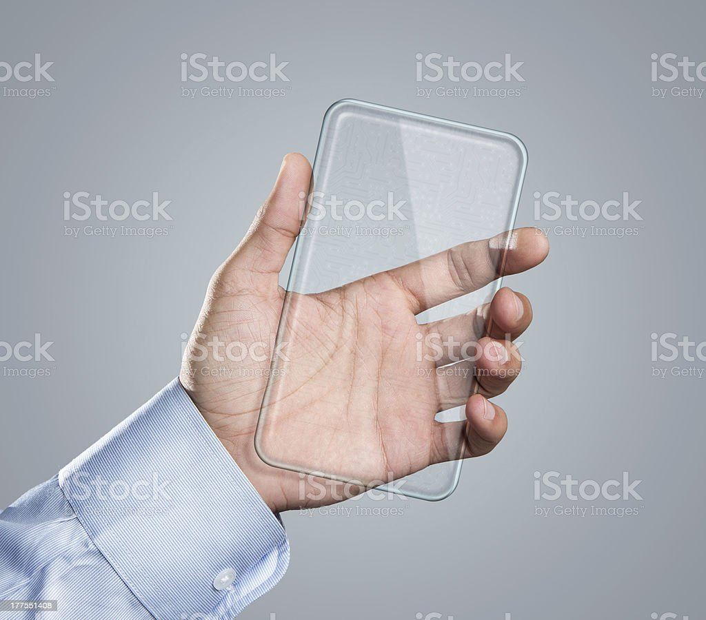 Blank transparent smart phone in hand royalty-free stock photo