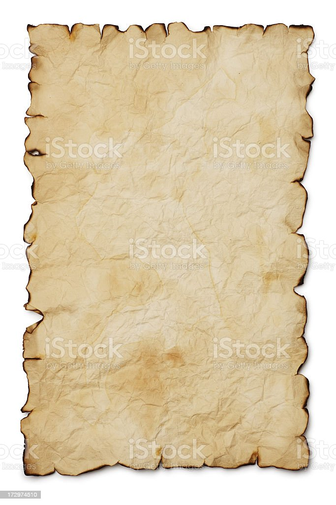 Blank treasure map with burnt edges on white background stock photo