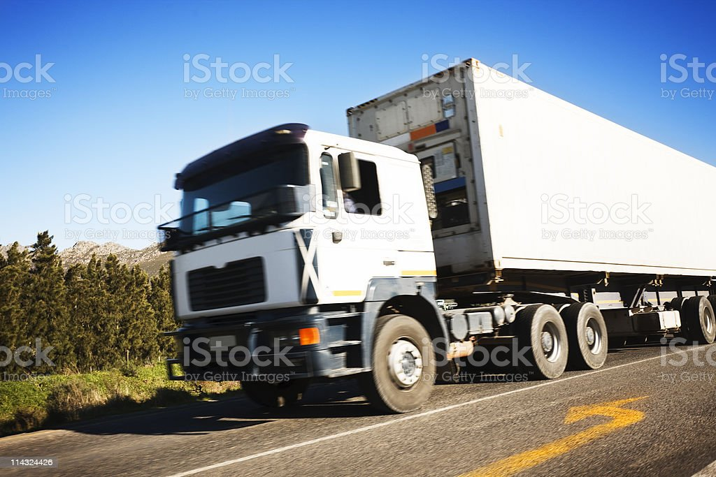 Blank truck with motion blur stock photo