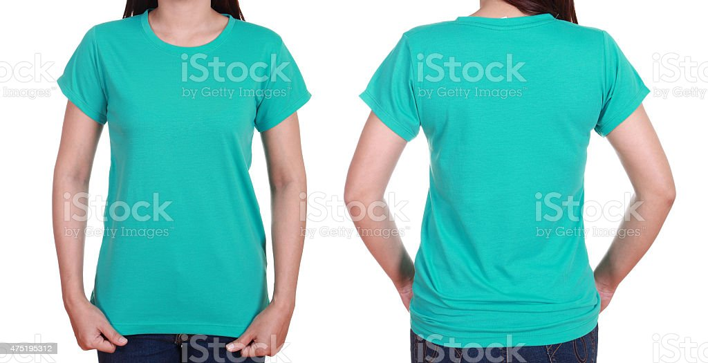 blank t-shiet set (front, back) with female stock photo