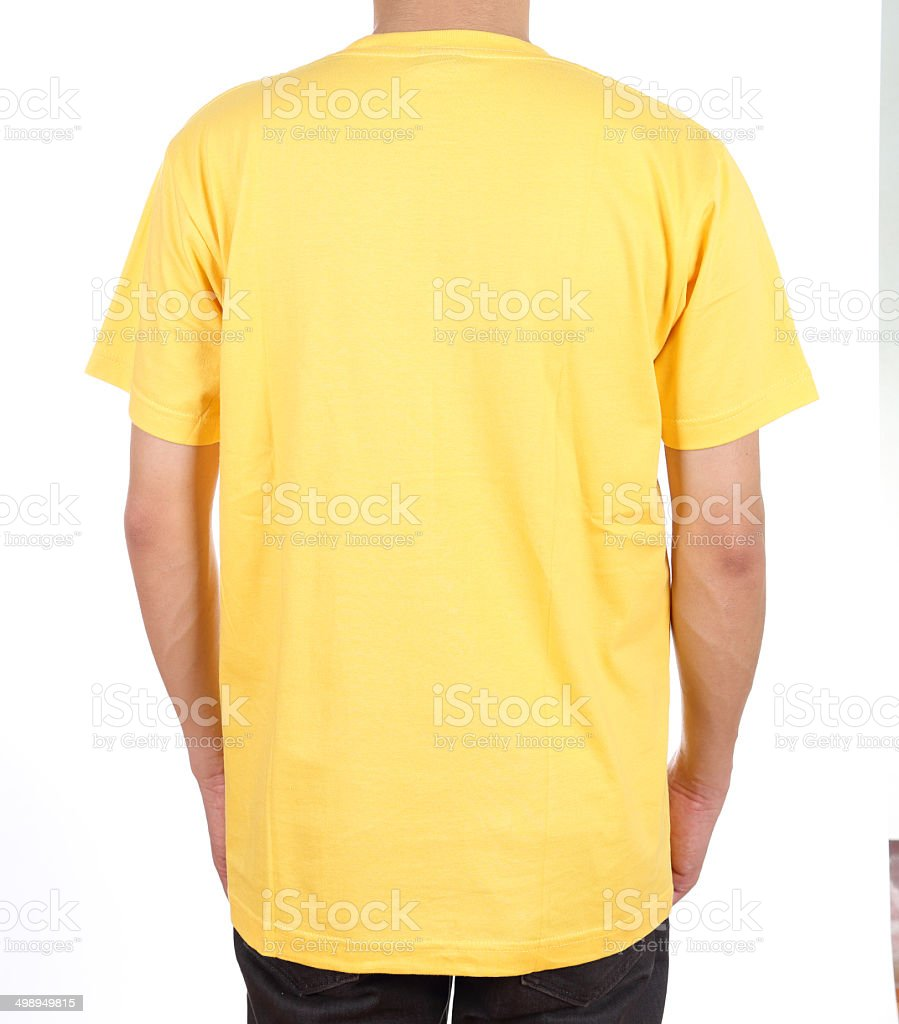 blank t-shirt on man (back side) stock photo