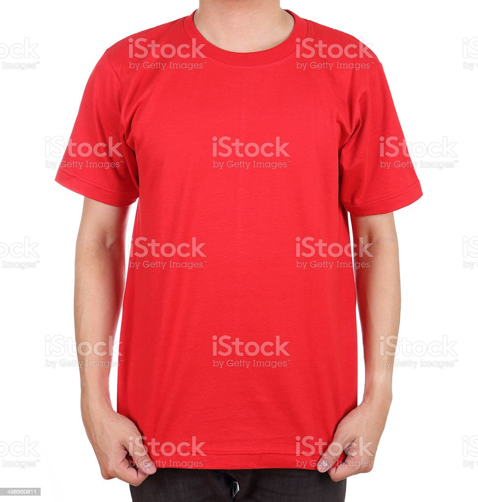 blank t-shirt on man stock photo