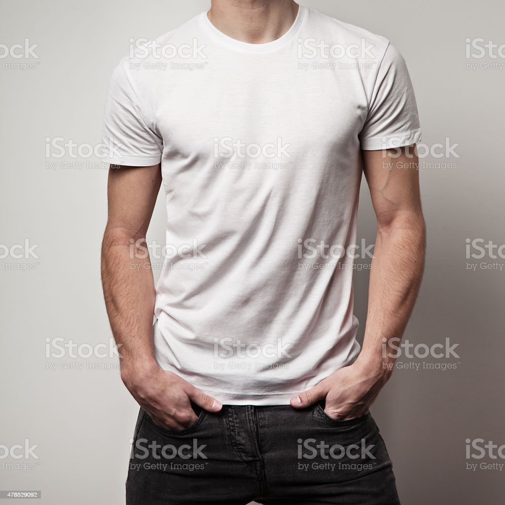 blank t-shirt on muscle young man stock photo