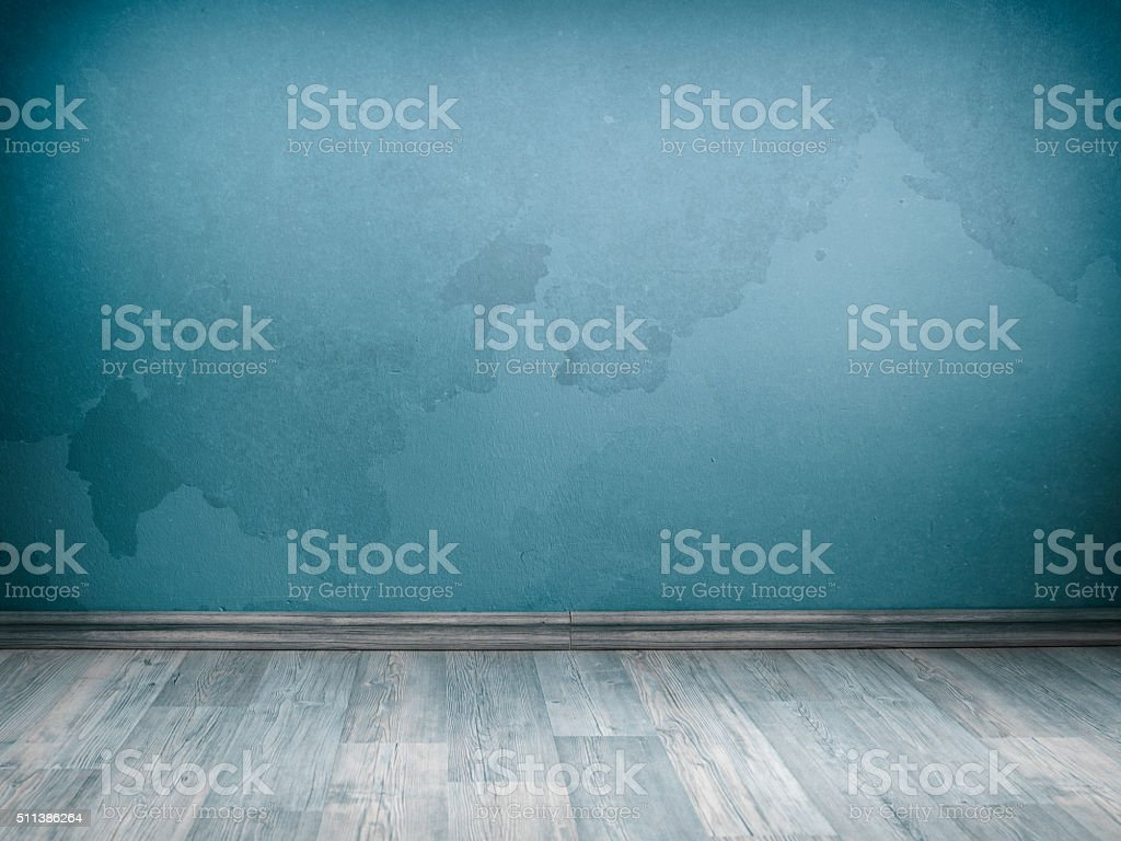 Blank Turquoise Interior Wall For Copy Space stock photo