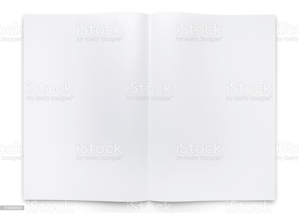 blank two fold paper brochure or book stock photo