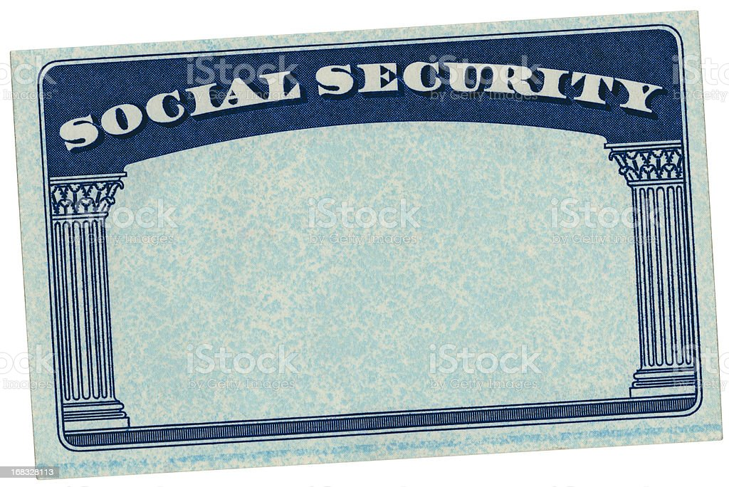 Blank USA Social Security Card stock photo