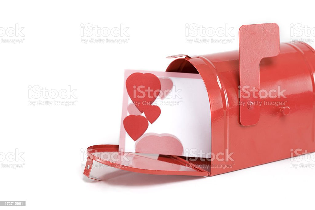Blank Valentines Card in Mailbox on White, Copy Space royalty-free stock photo