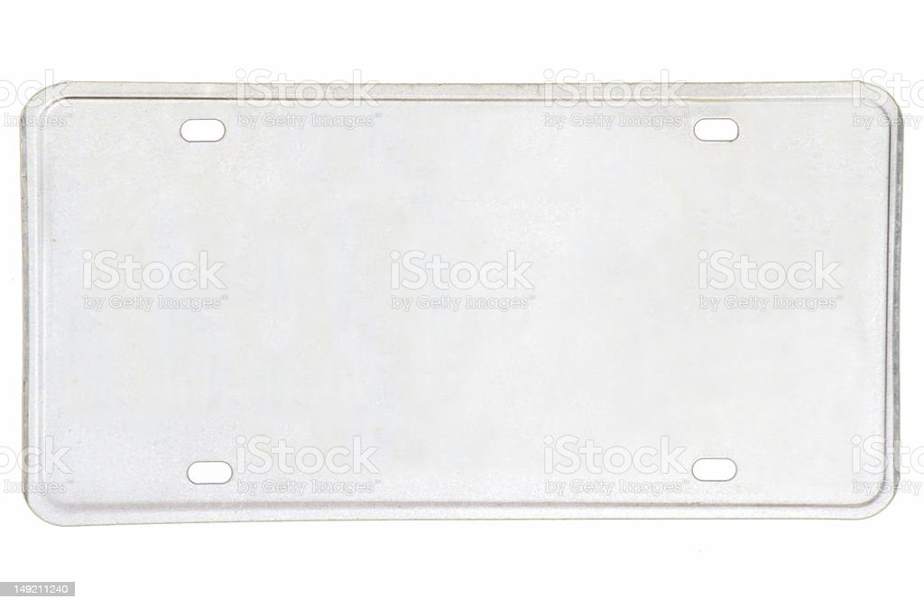 Blank Vehicle License Plate stock photo