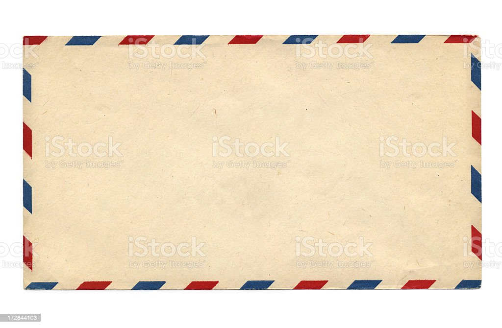 Blank Vintage air mail envelope with red and blue stripes stock photo