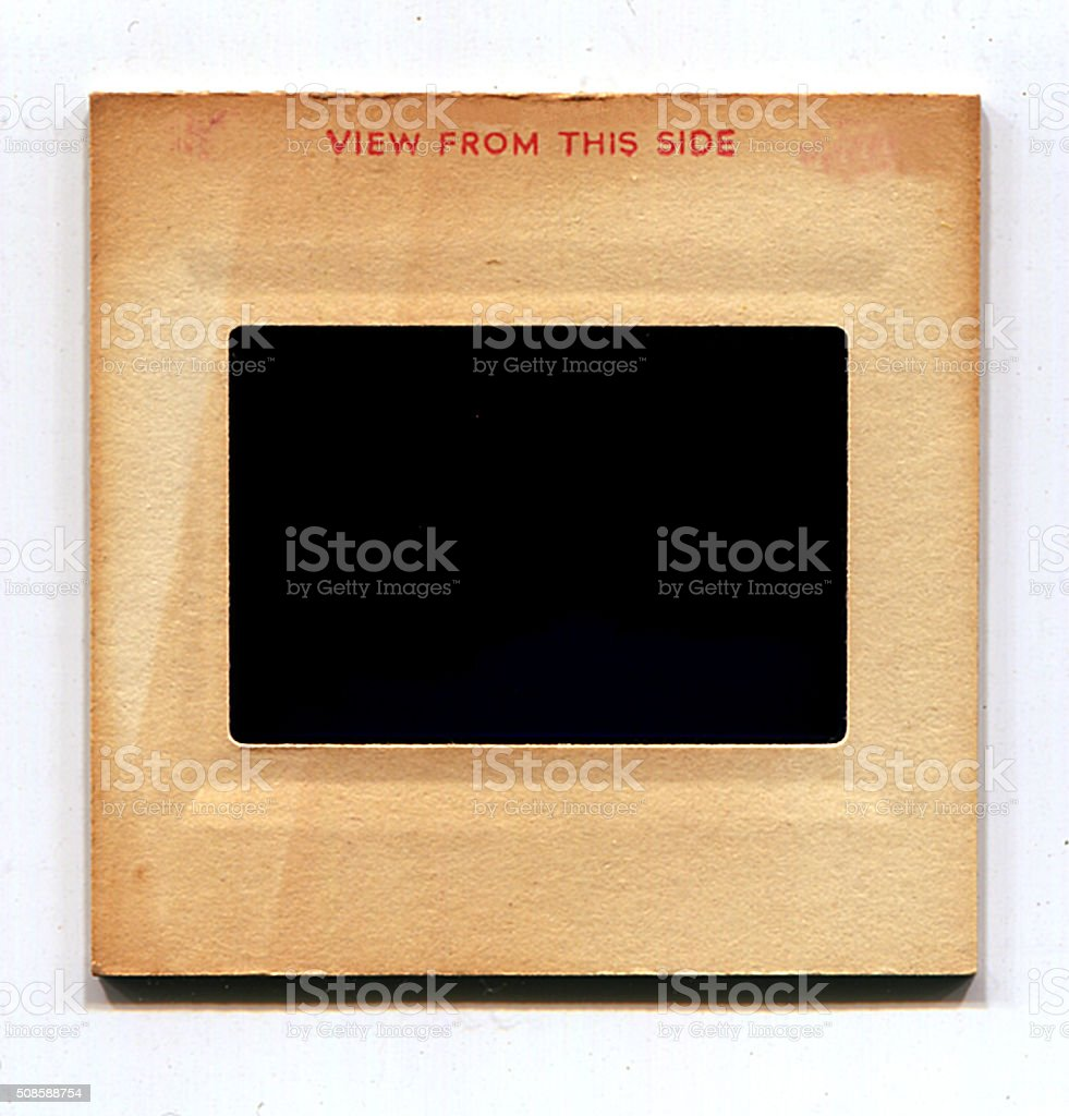 Blank vintage cardboard slide film mount stock photo