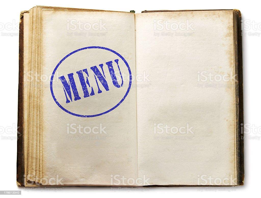 Blank vintage menu book royalty-free stock photo
