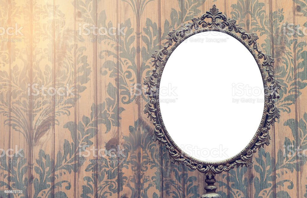 Blank Vintage mirror photo frame with copy space. stock photo