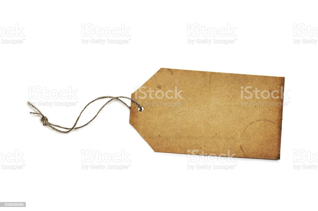Blank Vintage Paper Price Tag or Label Isolated on White stock photo