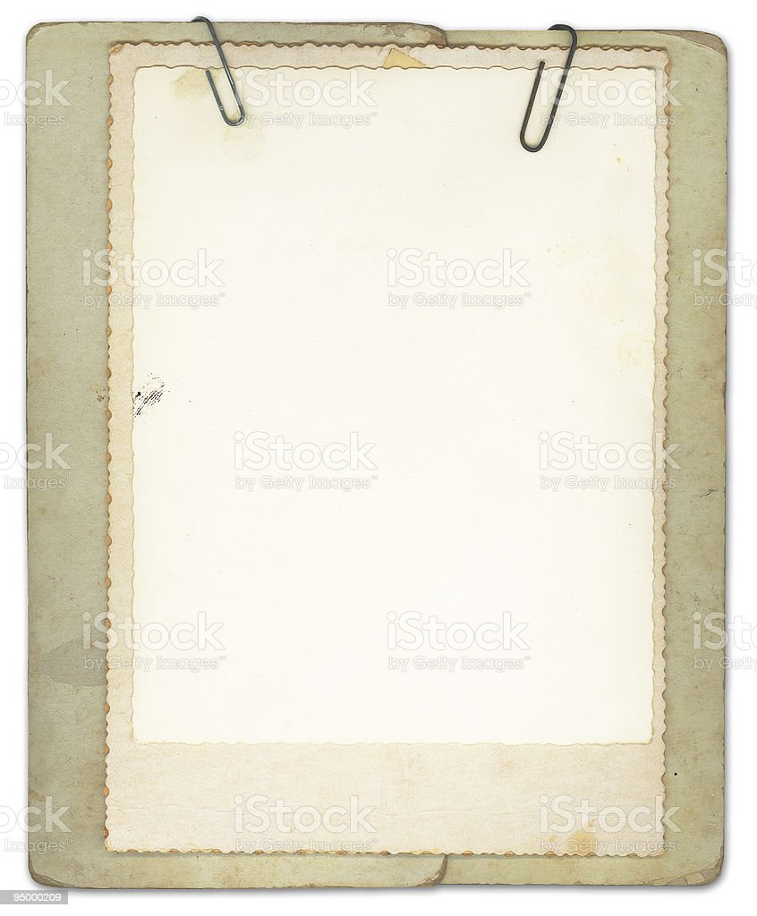 Blank Vintage Papers Clipped Together royalty-free stock photo