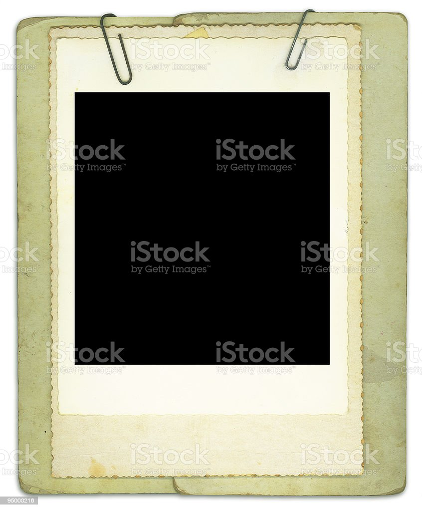 Blank Vintage Photo and Papers Clipped Together royalty-free stock photo