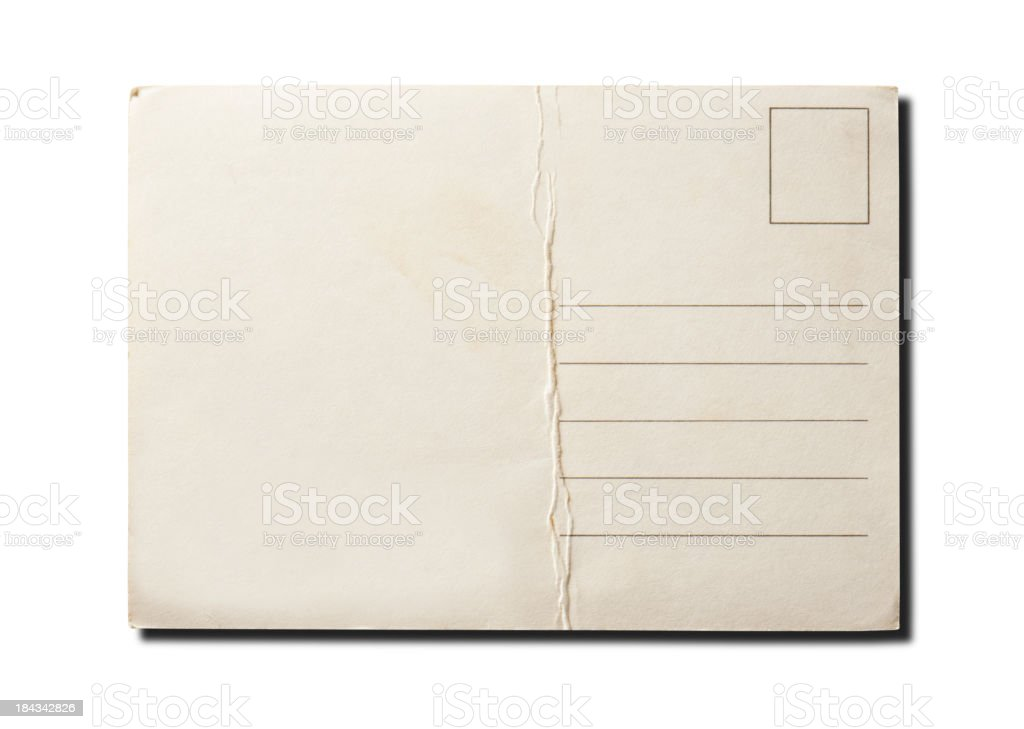Blank vintage postcard isolated on white background royalty-free stock photo