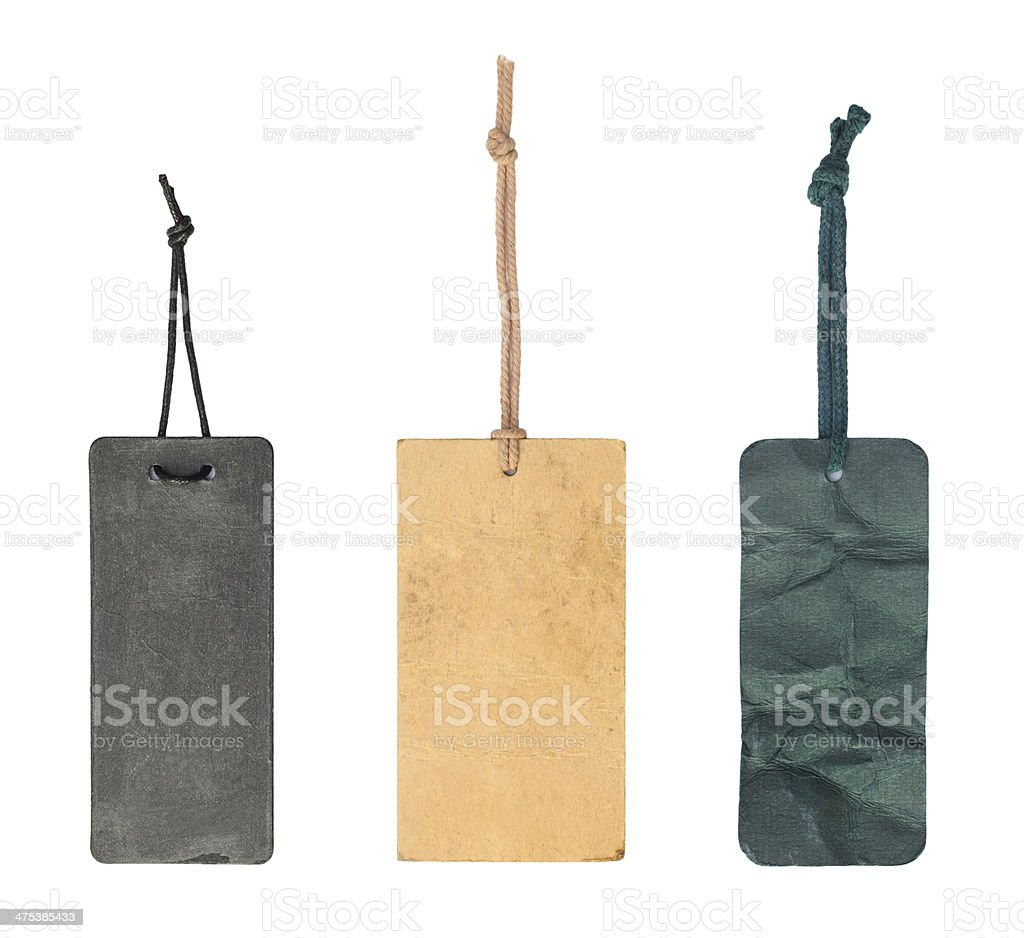 blank vintage tags with clipping path stock photo