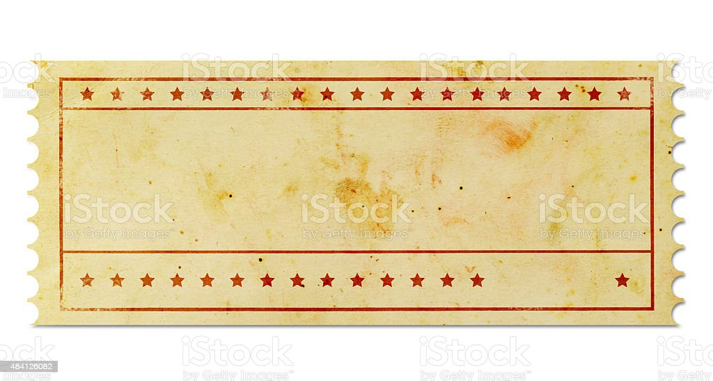 Blank vintage ticket stock photo
