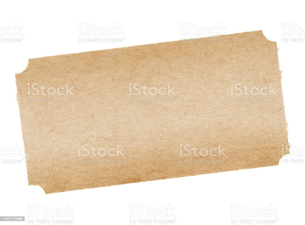 Blank Vintage Ticket (with path) stock photo