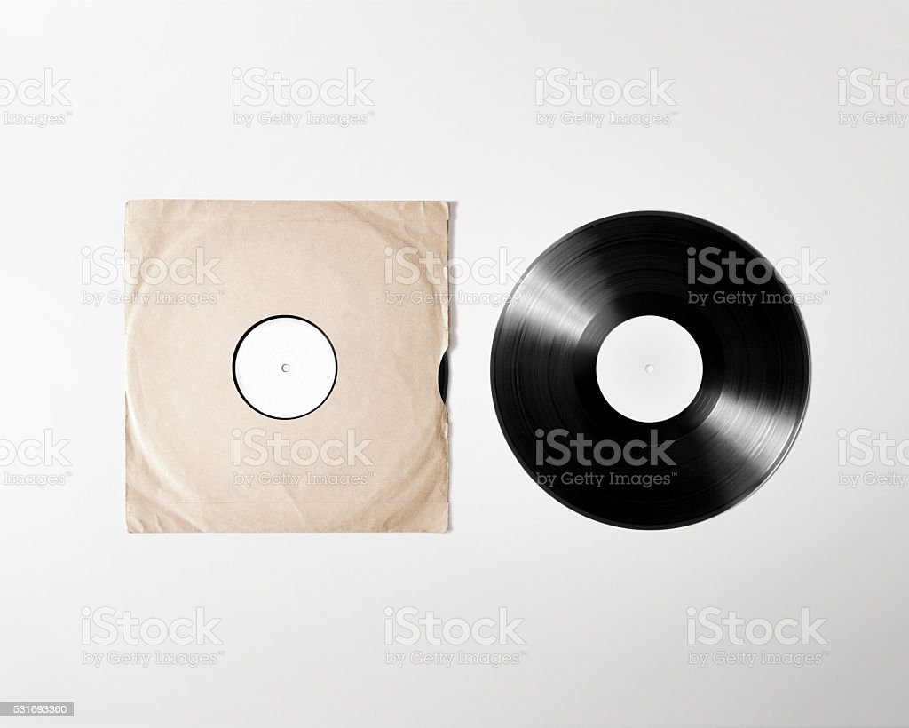 Blank vinyl album cover sleeve mockup, isolated, clipping path stock photo