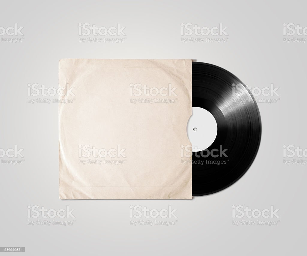 Blank vinyl album cover sleeve mockup, isolated, clipping path. stock photo
