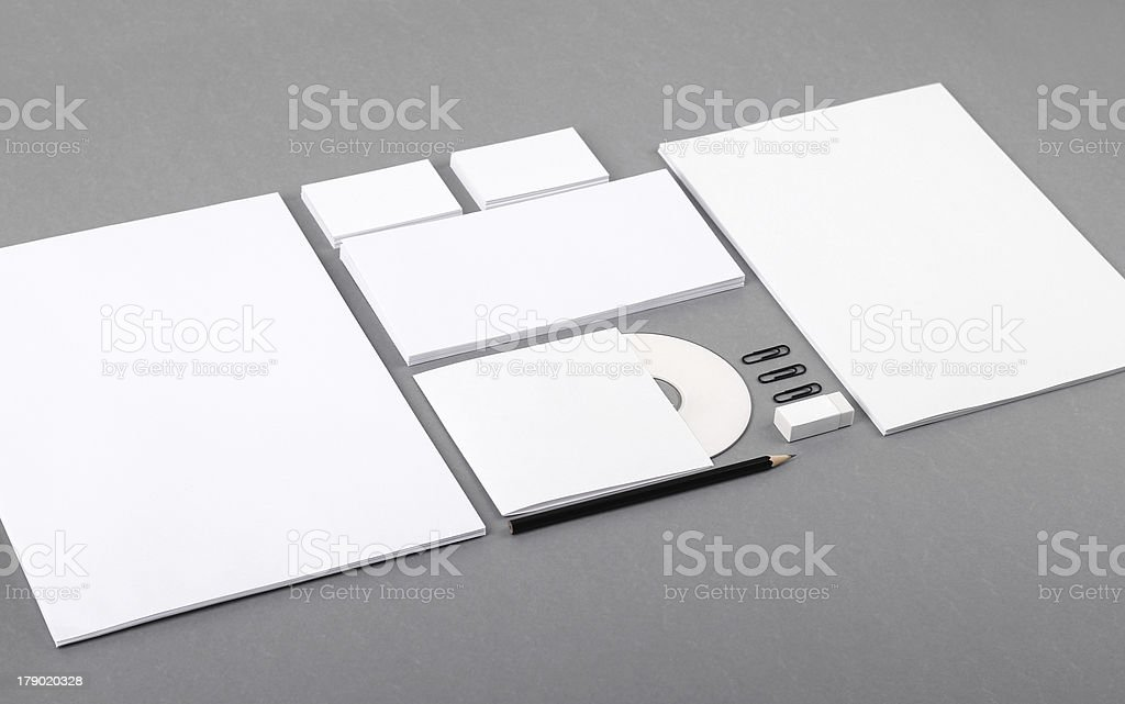 Blank visual identity. Letterhead, business cards, envelopes, CD, pencil, eraser royalty-free stock photo