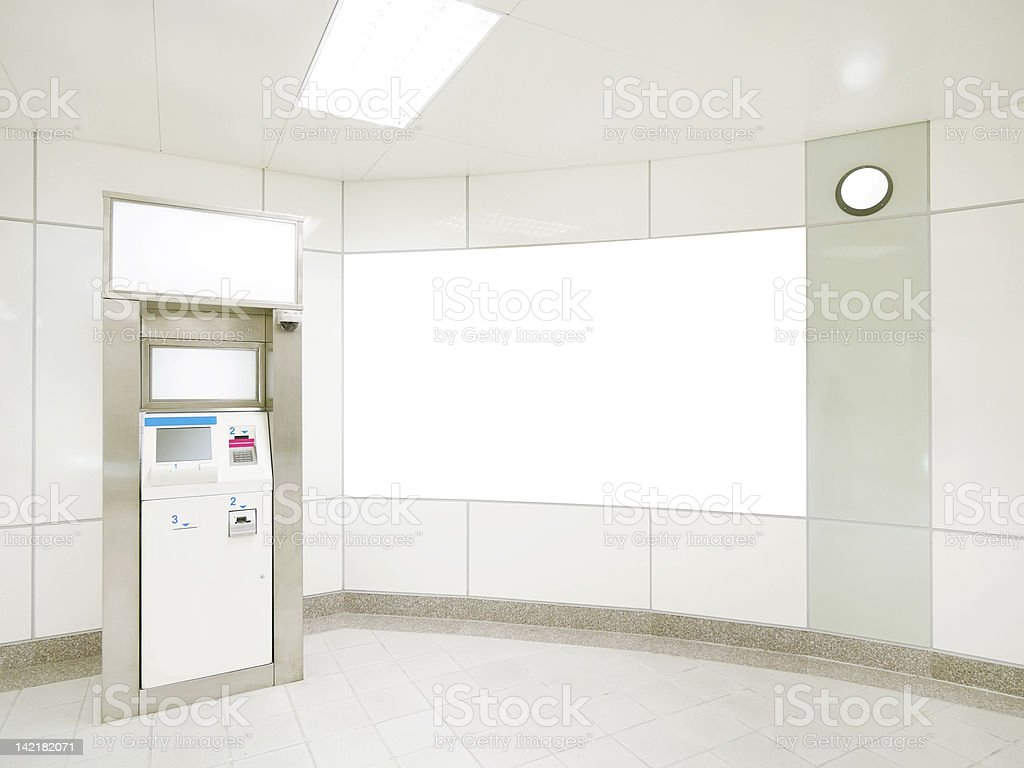 Blank wall and ATM stock photo