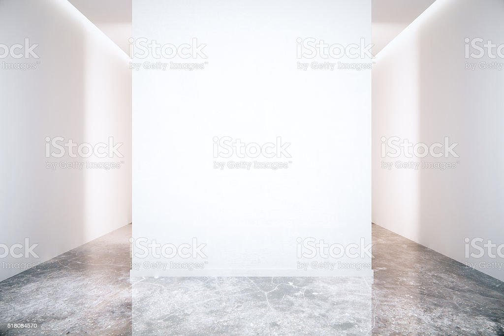 Blank wall and marble floor stock photo