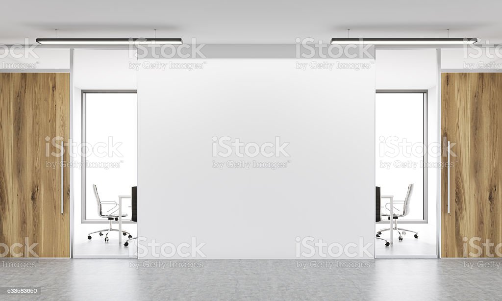 Blank wall in office front stock photo