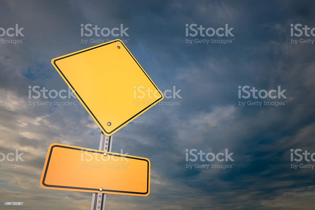 Blank warning road sign stock photo