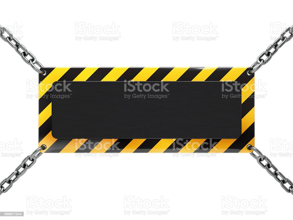 blank warning sign hanging with chain, isolated on white stock photo