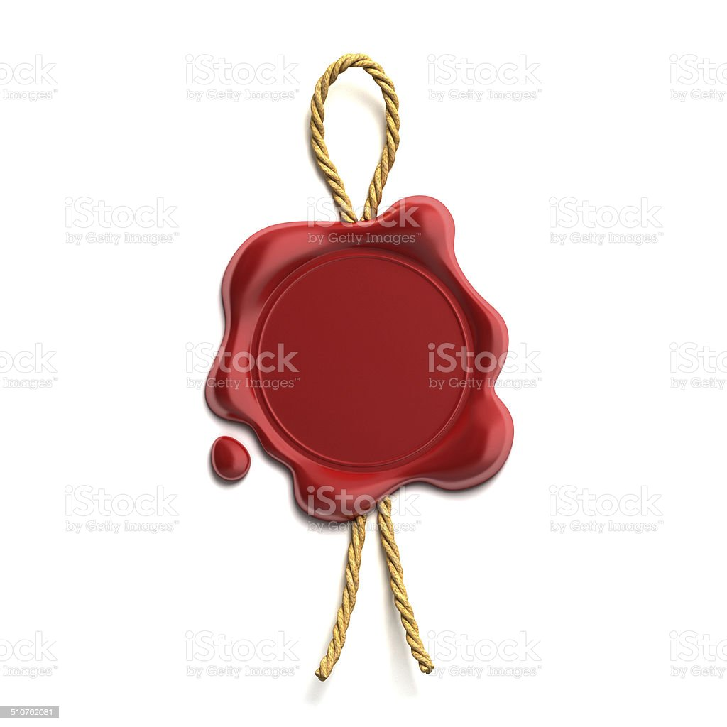 blank wax seal with cord stock photo