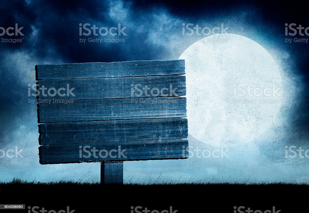 Blank Weathered Sign in Front Of Rising Full Moon stock photo