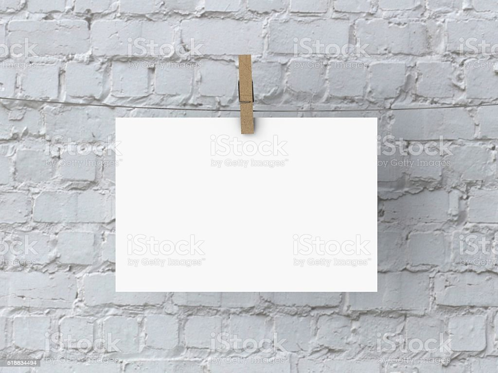 Blank white 6x4 poster mock up stock photo