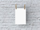 Blank white 6x4 poster mock up