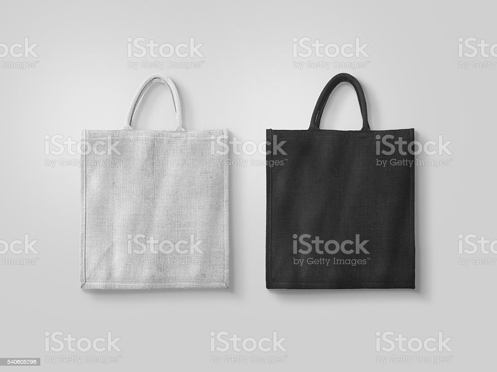 Blank white and black cotton eco bag design mockup isolated stock photo