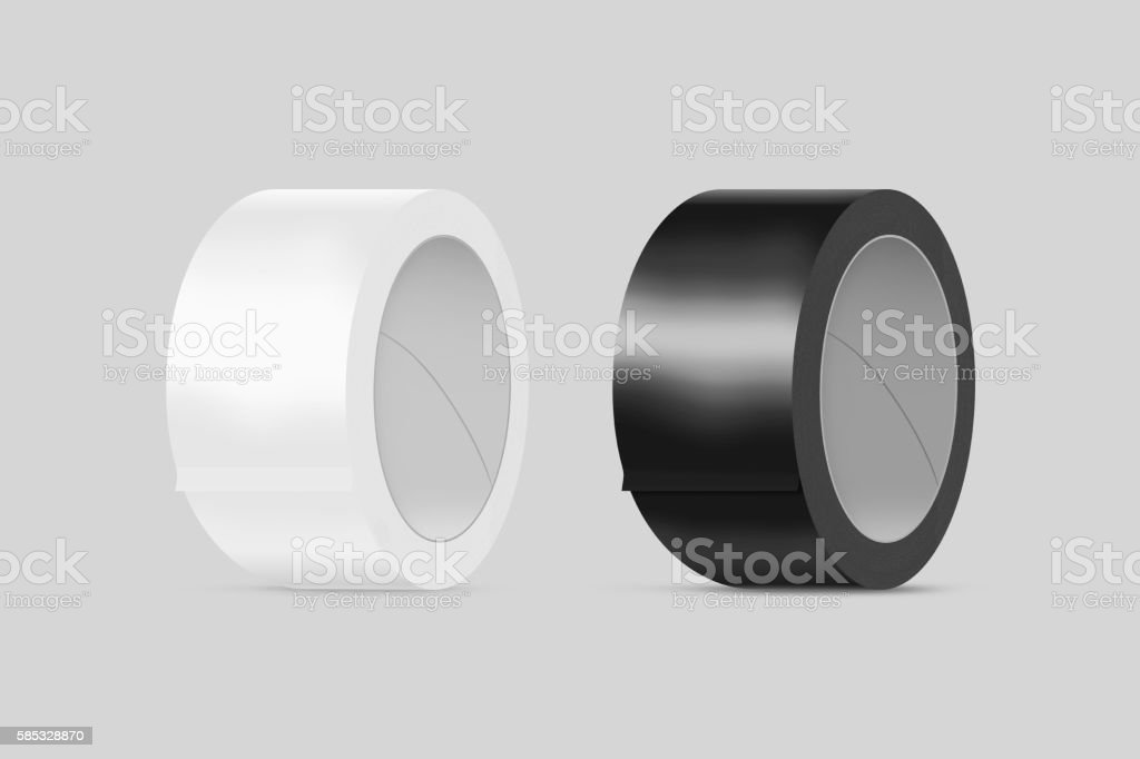 Blank white and black duct adhesive tape mockup, clipping path, stock photo