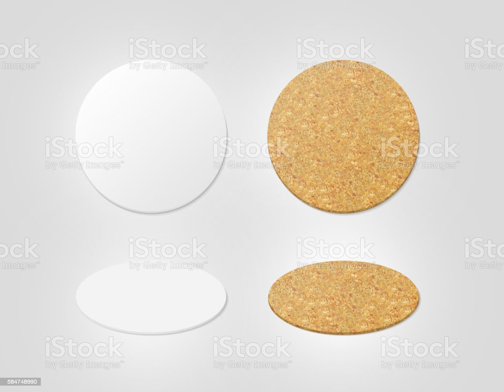 Blank white and cork textured beer coasters mockup, clipping path stock photo