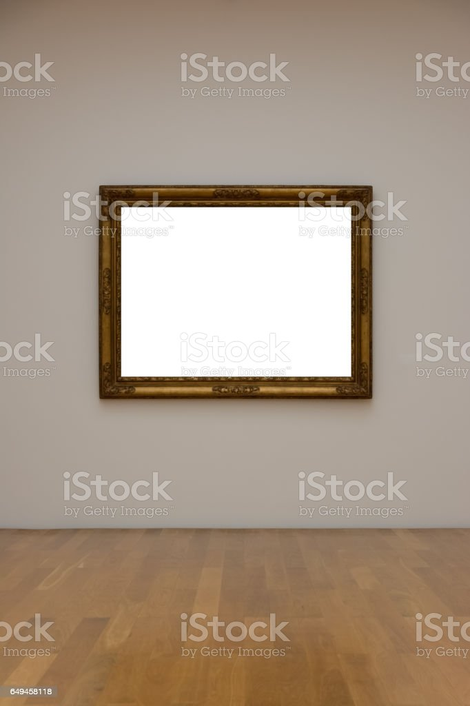 Blank White Art Gallery Frame Picture Wall White Contemporary Modern Rectangular Shape Isolated Empty stock photo