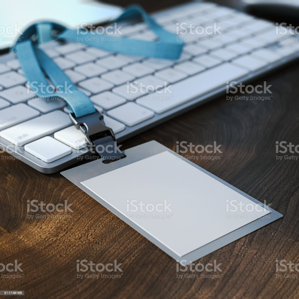 Blank white badge on the keyboard. 3d rendering stock photo
