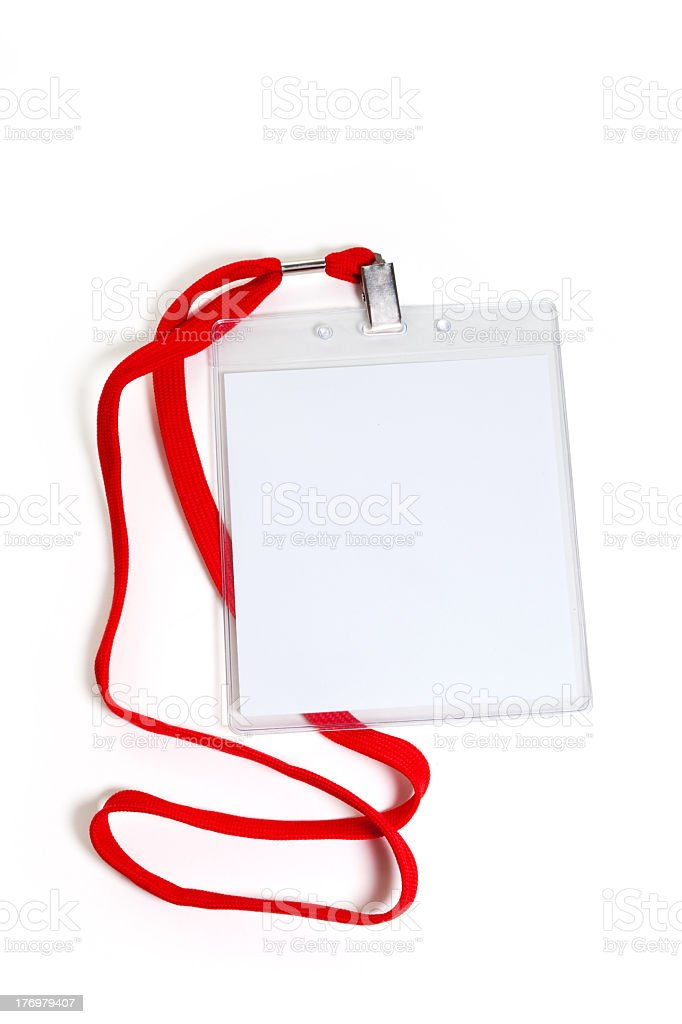 Blank white badge with red cord stock photo