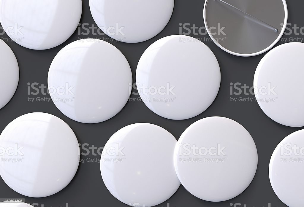 Blank white badges stock photo