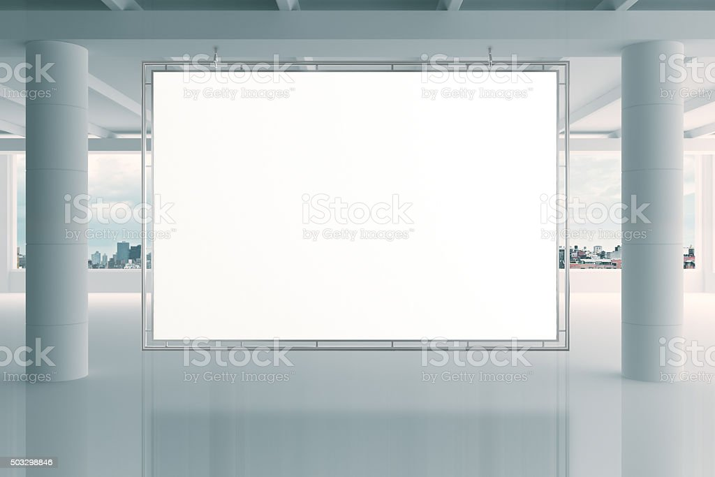 Blank white banner in modern empty open space office stock photo