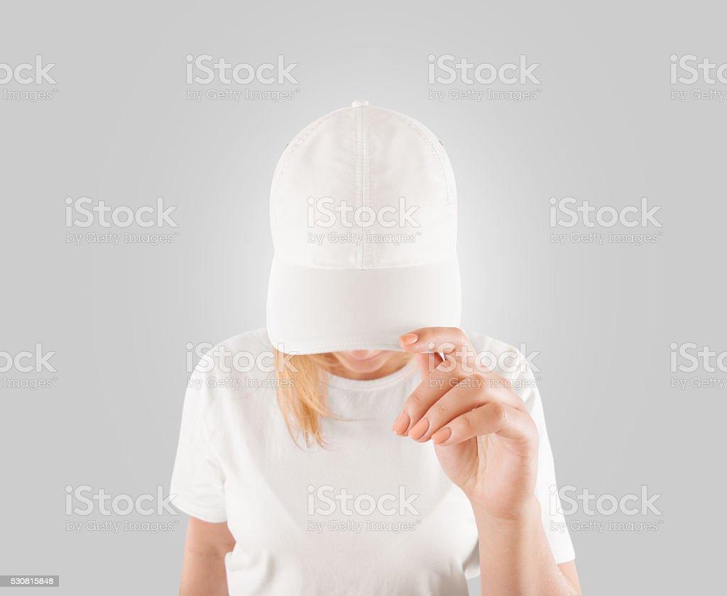 Blank white baseball cap mockup template, wear on women head stock photo