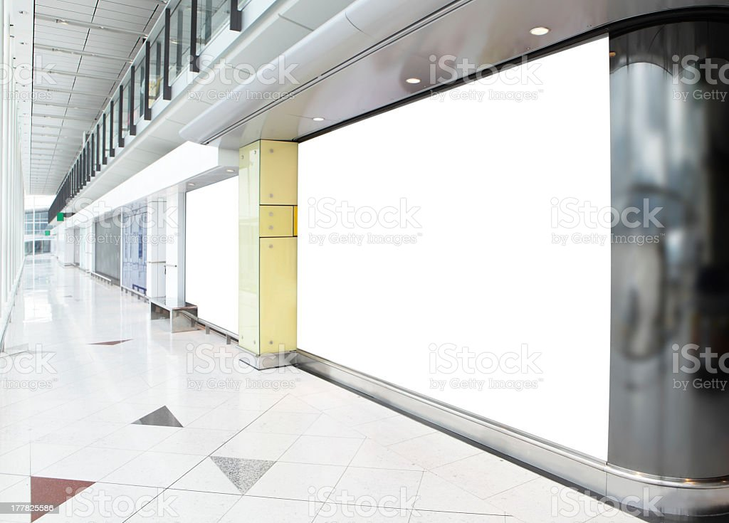 Blank white billboard in a shopping mall stock photo