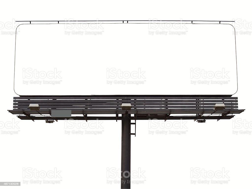 Blank white billboard on white background stock photo