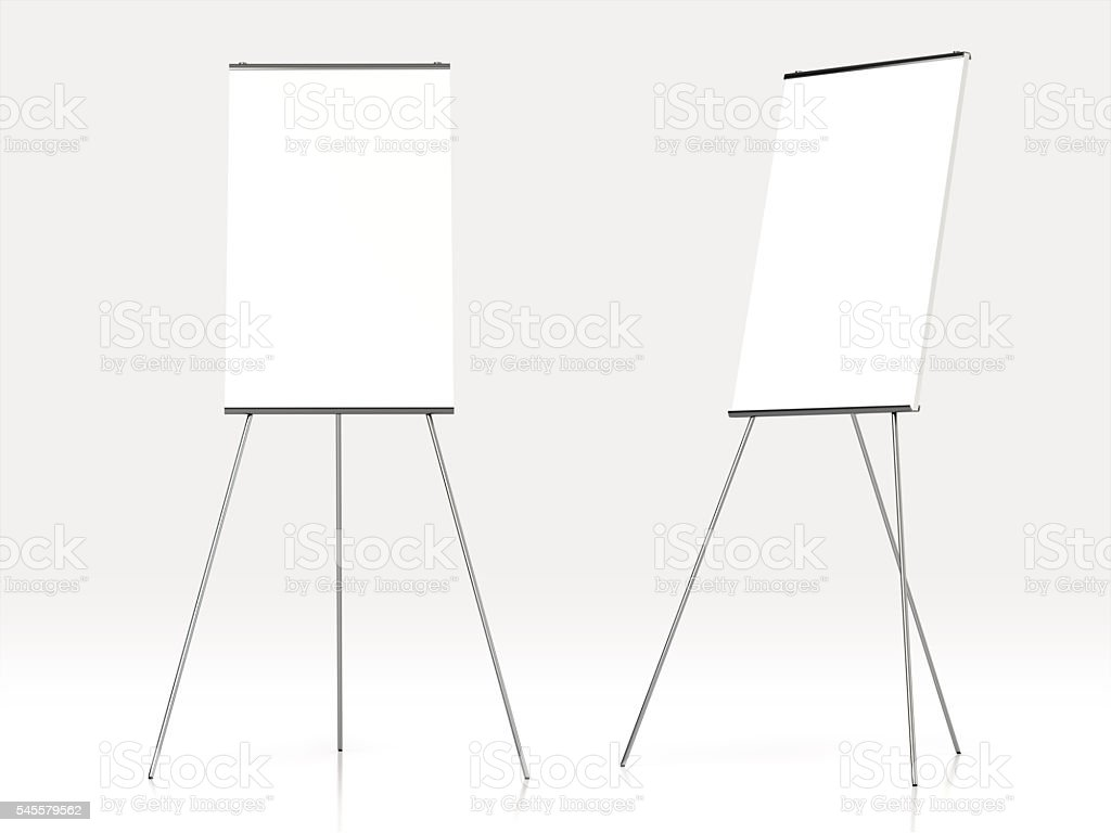 Blank white board for advertisement. stock photo