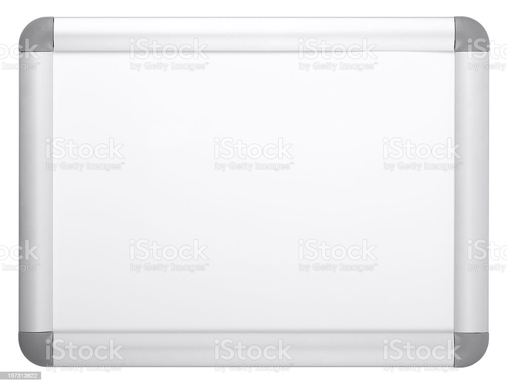 Blank white board (clipping path), isolated royalty-free stock photo