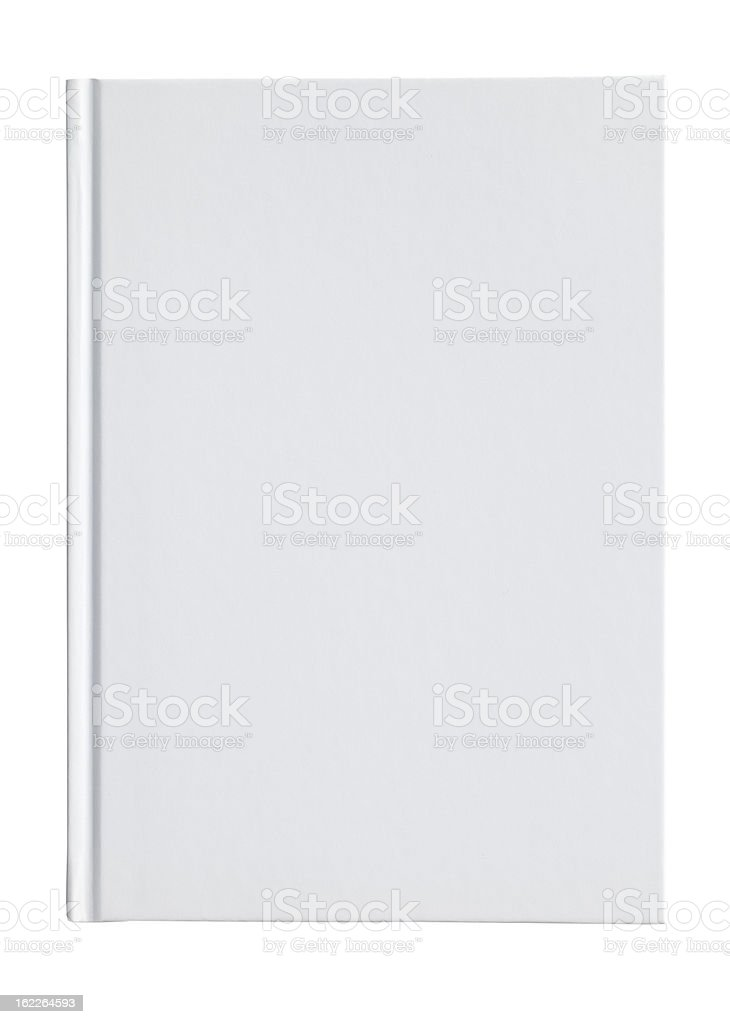 Blank white book cover on a white background stock photo